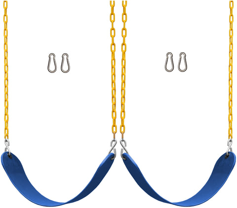 "Jungle Gym Kingdom 2 Pack Swings Seats Heavy Duty 66"" Chain Plastic Coated with Snap Hooks - Blue"
