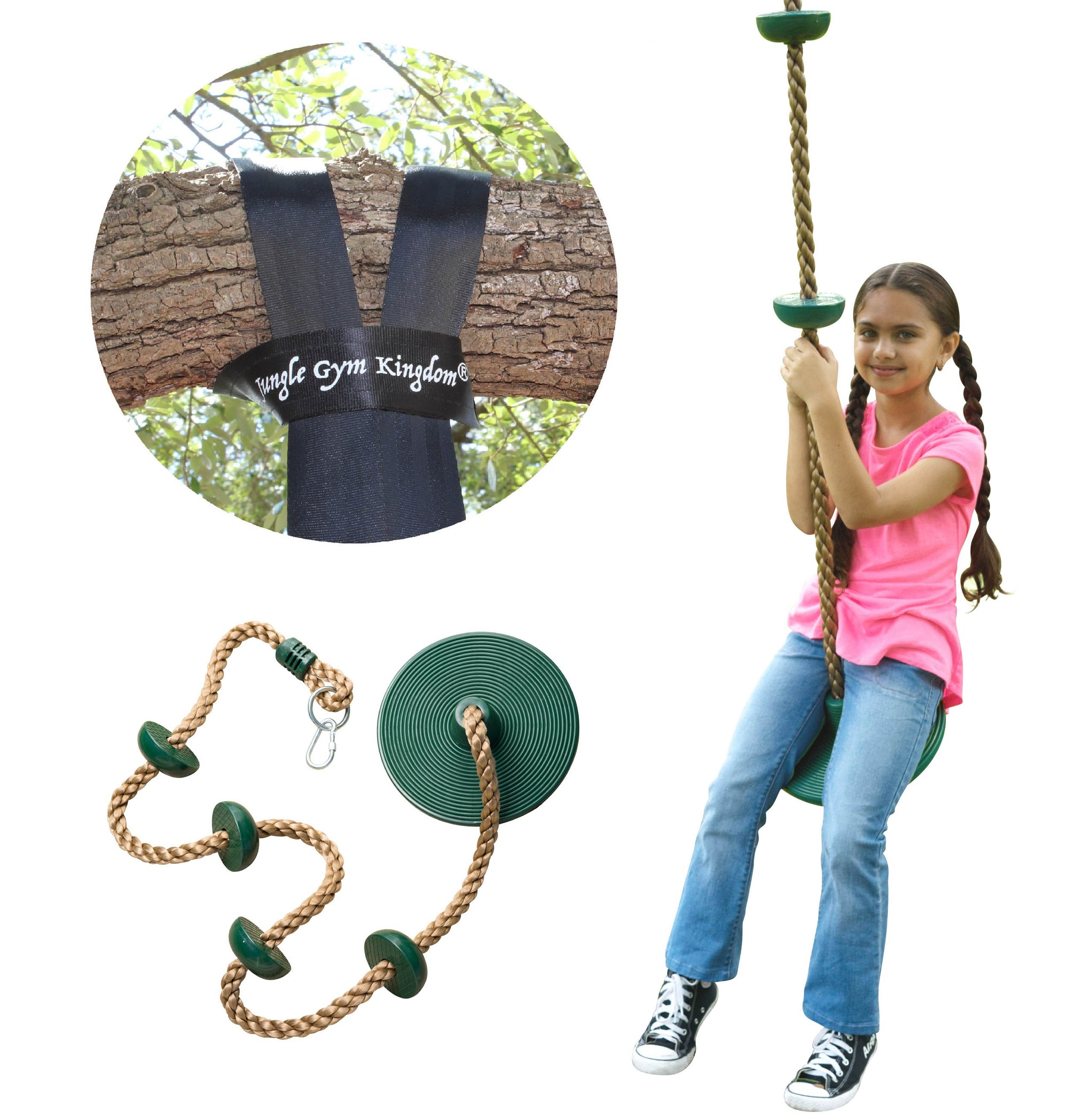 Tree Swing Climbing Rope with Platforms Green Disc Swings Seat - Outdoor Playground Set Accessories - Bonus Snap Hook and 4 Feet Strap