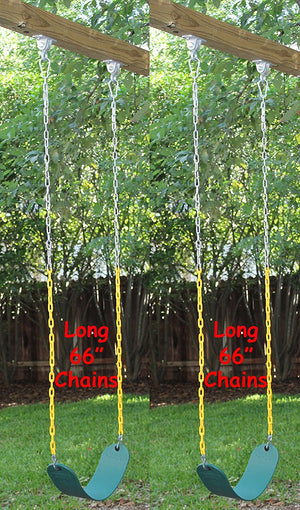 "2 Pack Swings Seats Heavy Duty 66"" Chain Plastic Coated with Snap Hooks - Green"