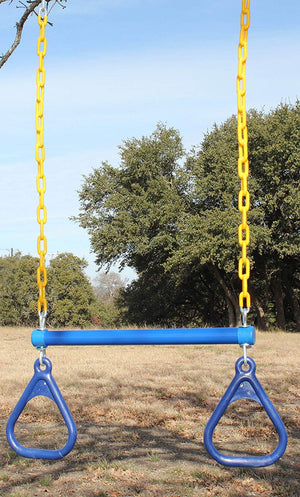 "18"" Trapeze Swing Bar & Rings 48"" Heavy Duty Chain & Locking Snap Hooks - Blue"