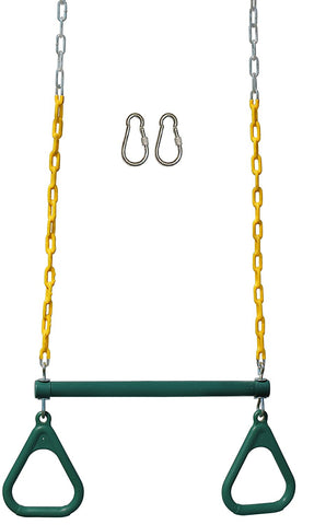 "Jungle Gym Kingdom 18"" Trapeze Swing Bar & Rings 48"" Heavy Duty Chain & Locking Snap Hooks - Green"