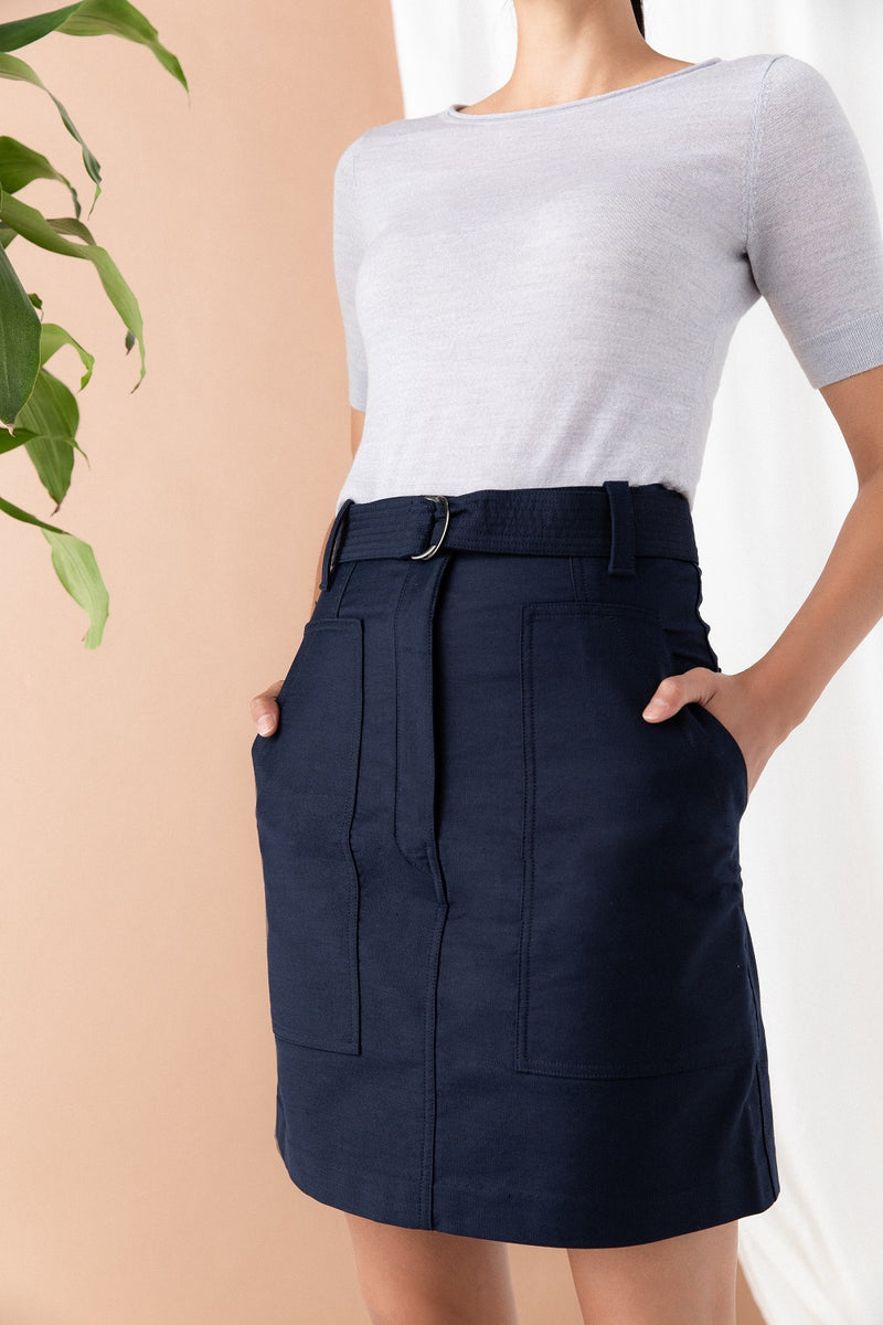 Belted Skirt - Midnight