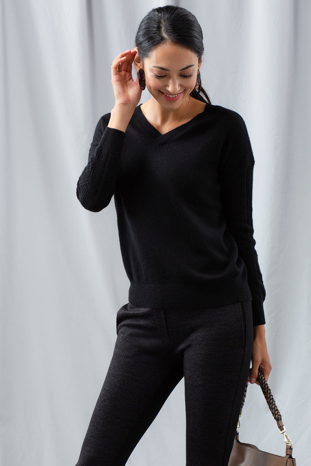 Cable 2-Way Sweater - Black