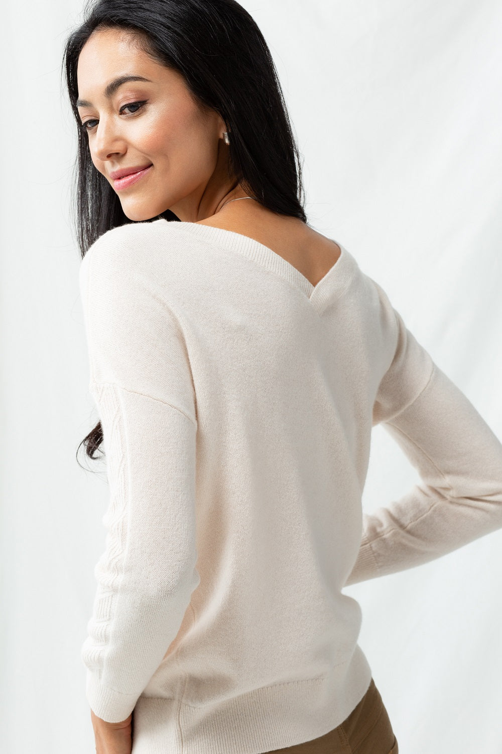Cable 2-Way Sweater - Cream