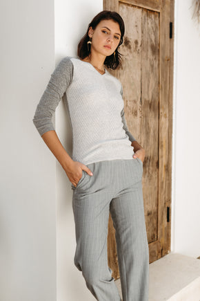 Chevron Colorblock Sweater - Bluestone