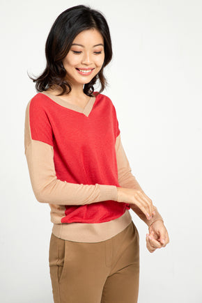 2-way Colorblock Sweater - Camel