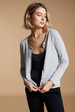 Ribbed Crew Cardigan - Grey Pearl