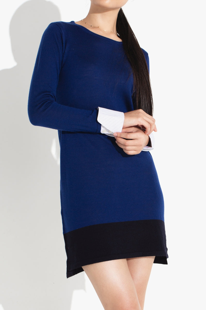 Cuffed Sleeve Tunic Dress - Marine