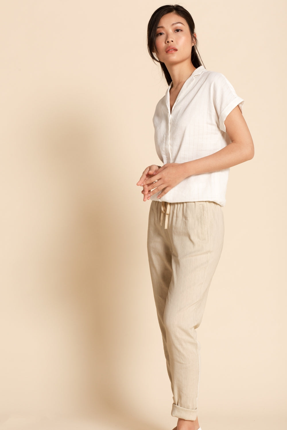 Drawstring Pant - Beige Striped