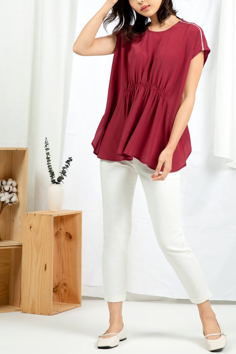 Grecian Blouse - Cherry