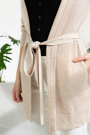 Hooded Wrap Cardigan - Almond