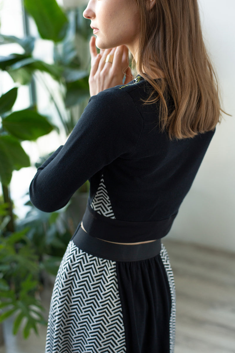 TMR Chevron Flared Skirt - Black & White