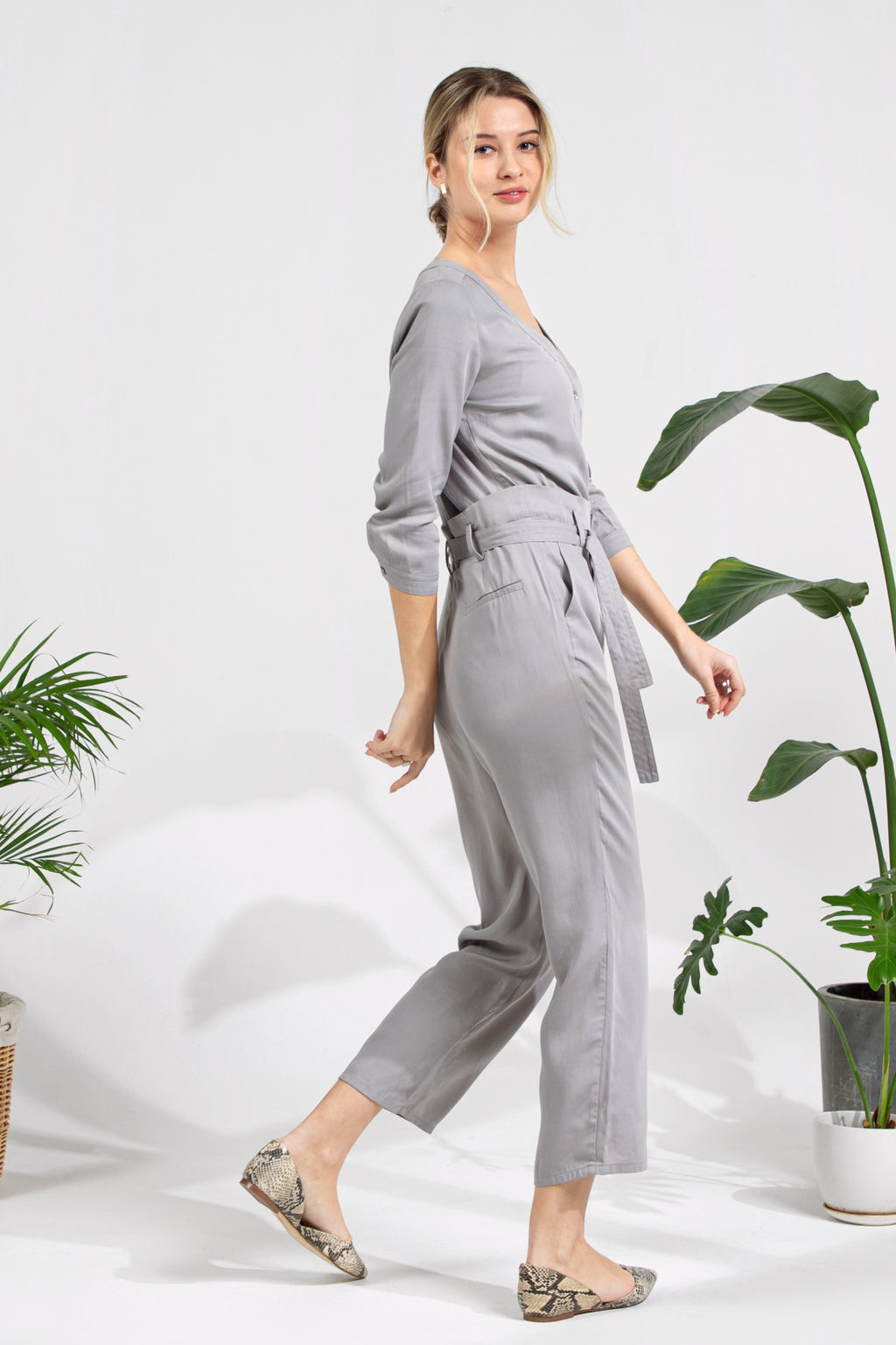 V-neck Jumpsuit - Grey Pearl