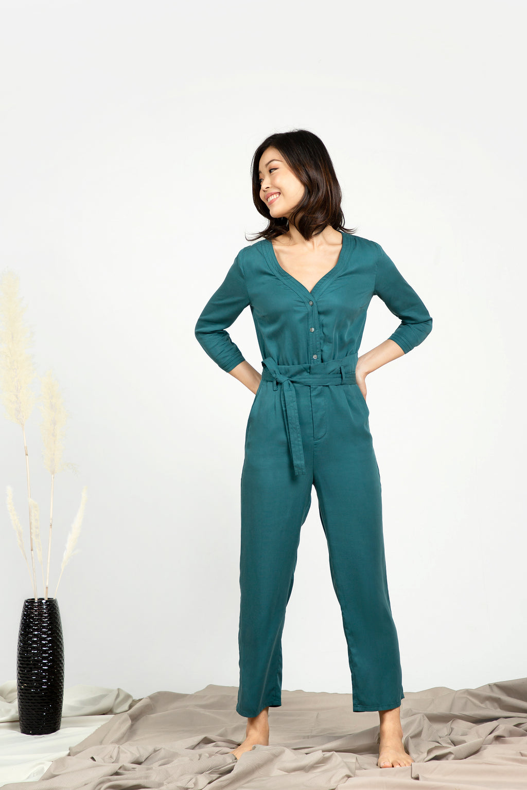 V-neck Jumpsuit - Emerald