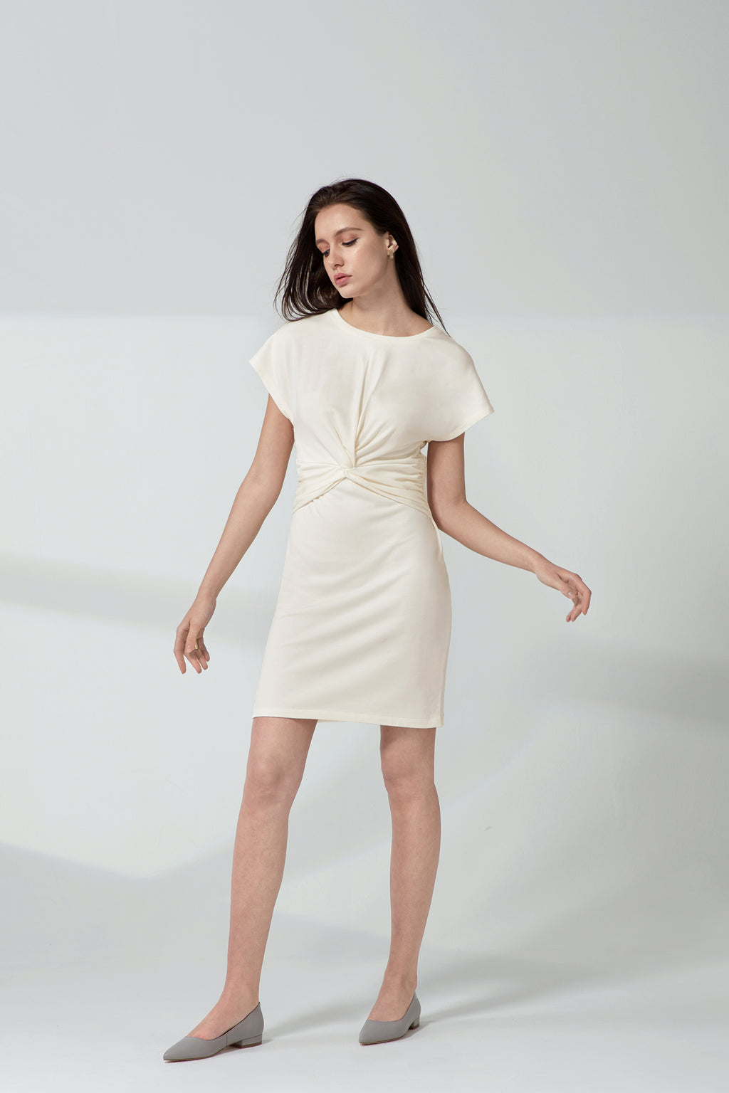 Knotted Dress - Vanilla Terry