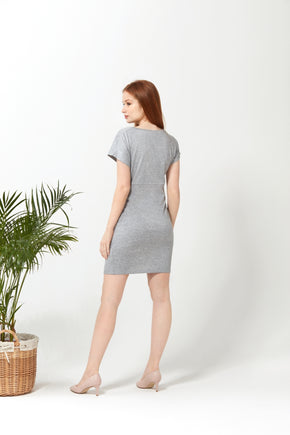 Knotted Dress - Grey Terry