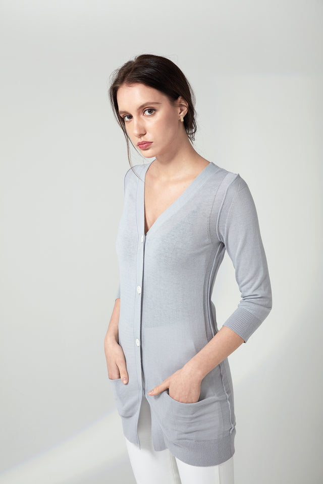 Long V-neck Cardigan - Grey Pearl