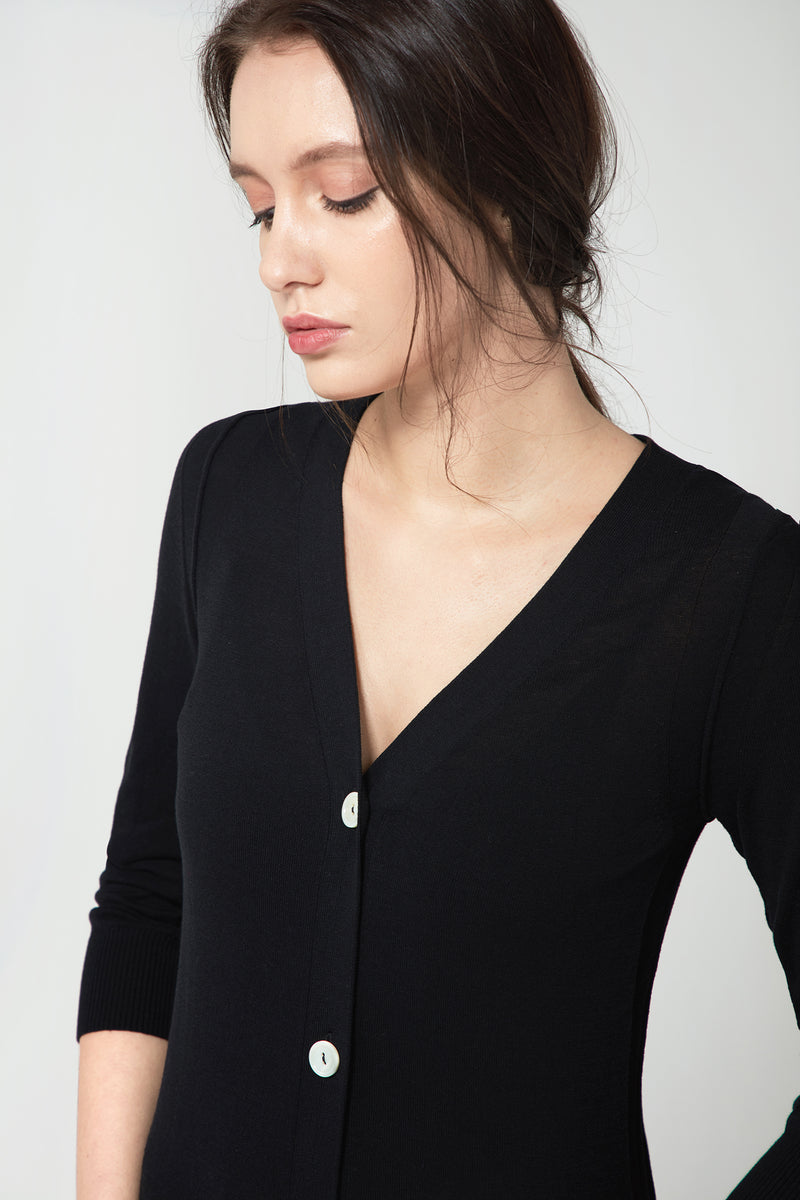 Long V-neck Cardigan - Black