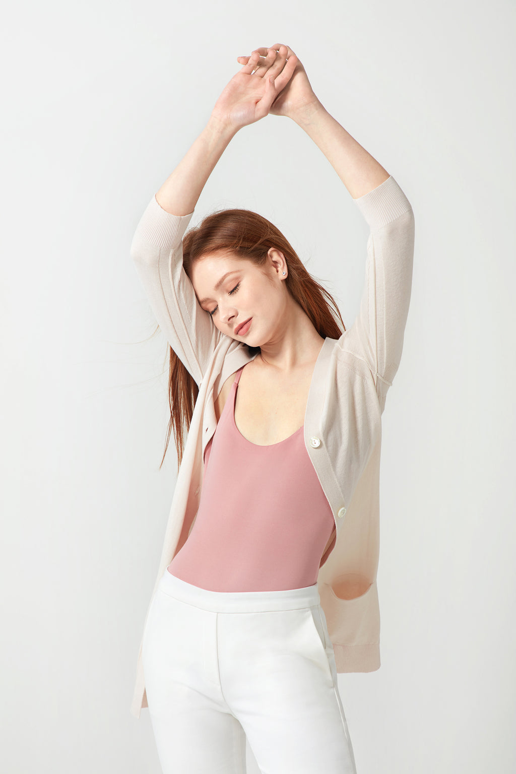 Long V-neck Cardigan - Shell