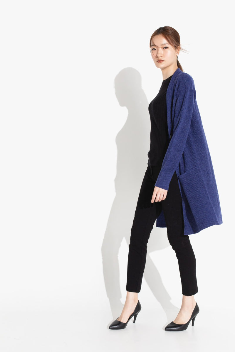 Long Zipped Jacket - Indigo