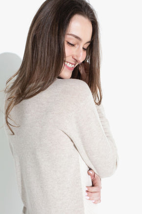 Chevron Colorblock Sweater - Almond