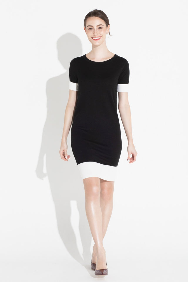 Colorblock Shift Dress - Black