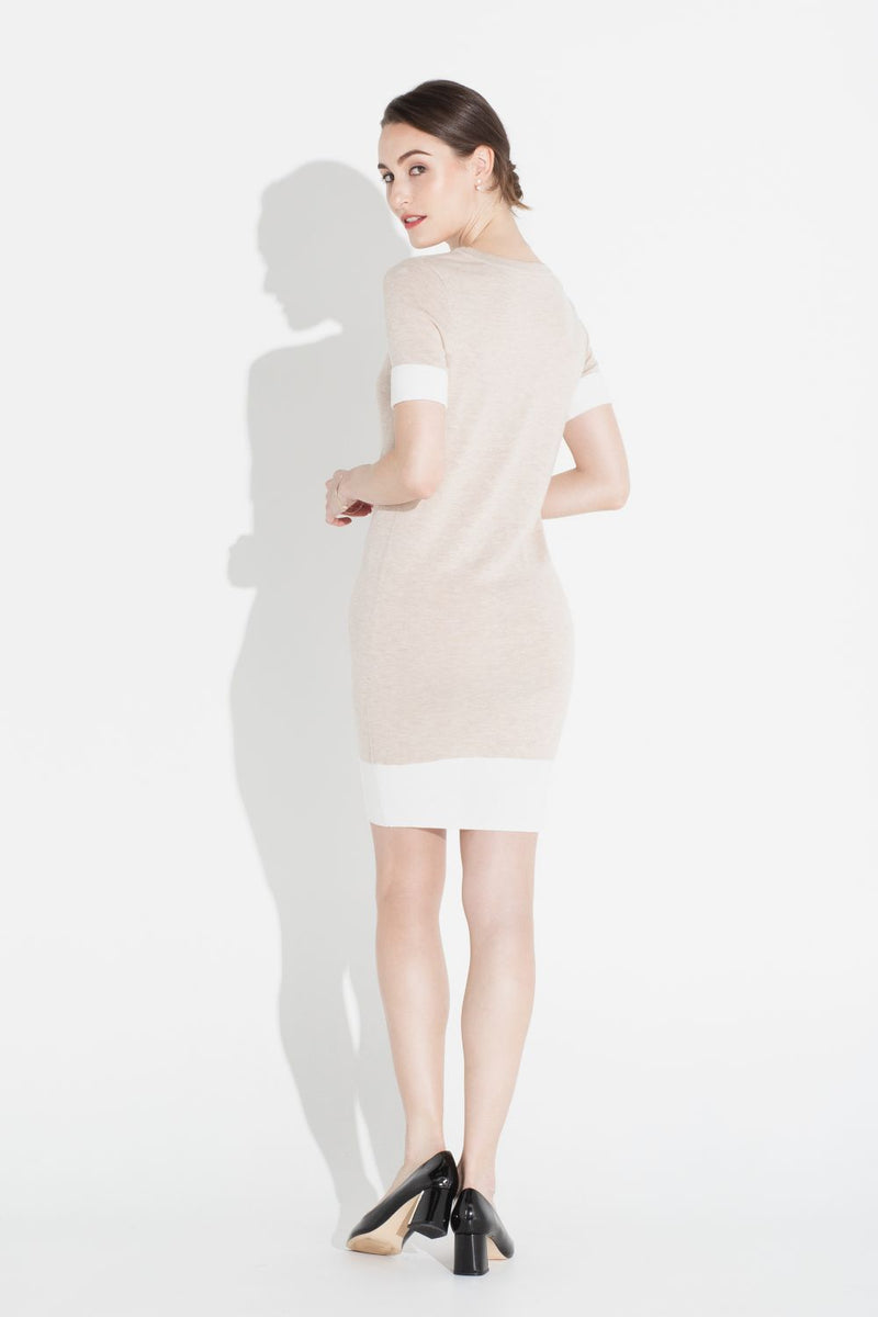 Colorblock Shift Dress - Almond