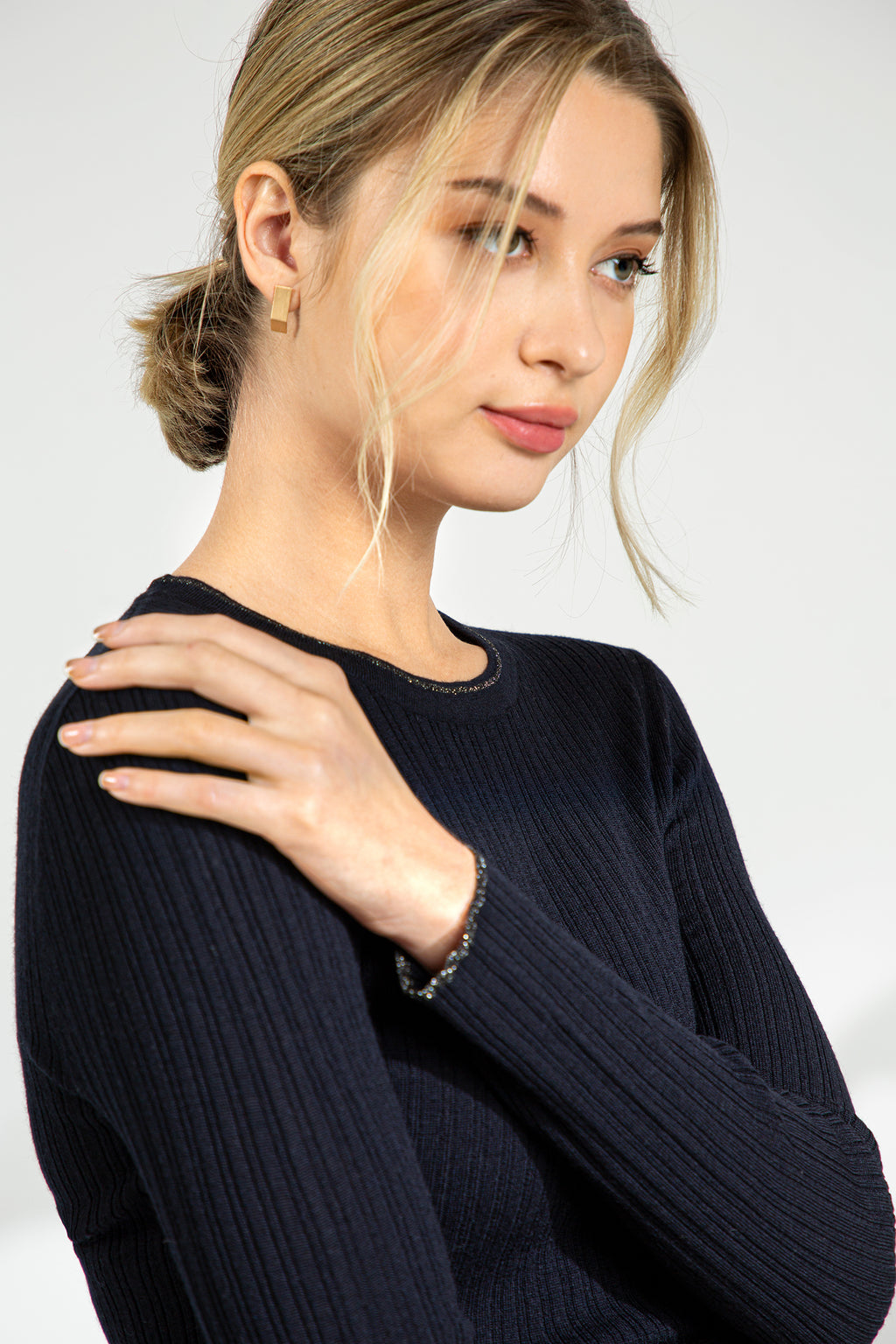 Metallic Trim Ribbed Sweater - Black