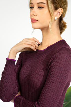 Contrast Trim Ribbed Sweater - Dark Cherry