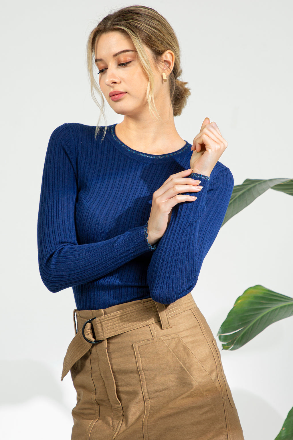 Metallic Trim Ribbed Sweater - Marine