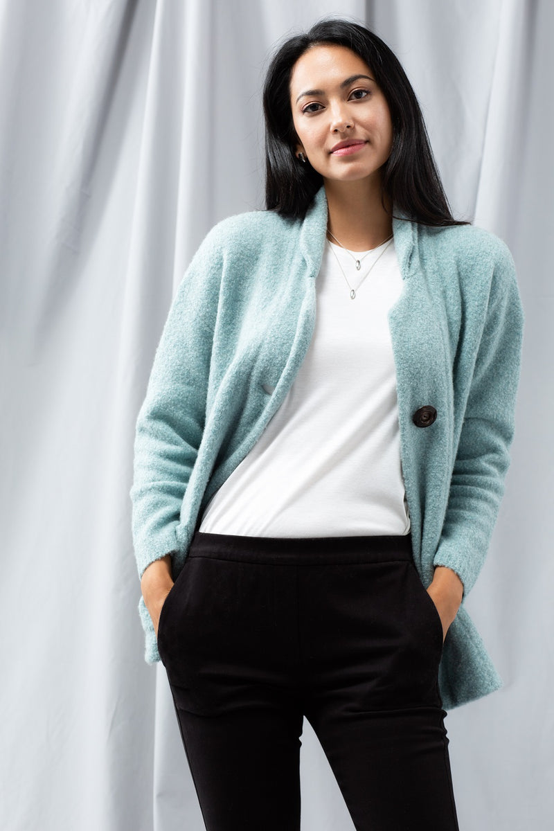 Oversized Knit Blazer - Winter Jade