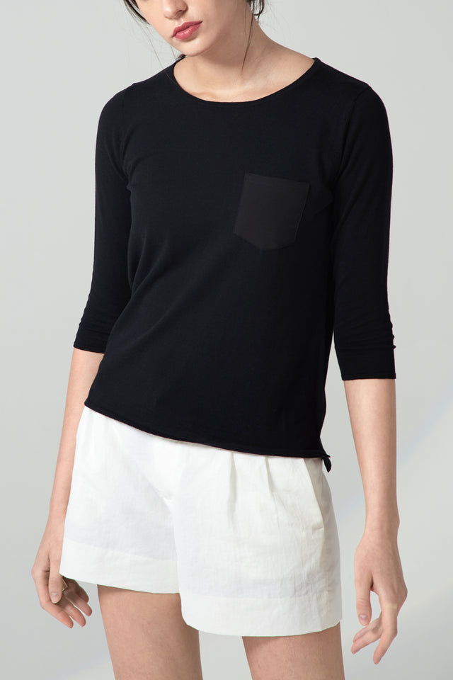 Patch Pocket Pullover - Black