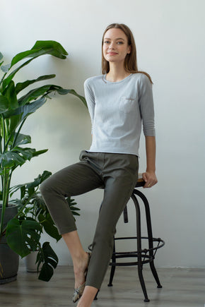 TMR Patch Pocket Embroidered Top - Grey Pearl