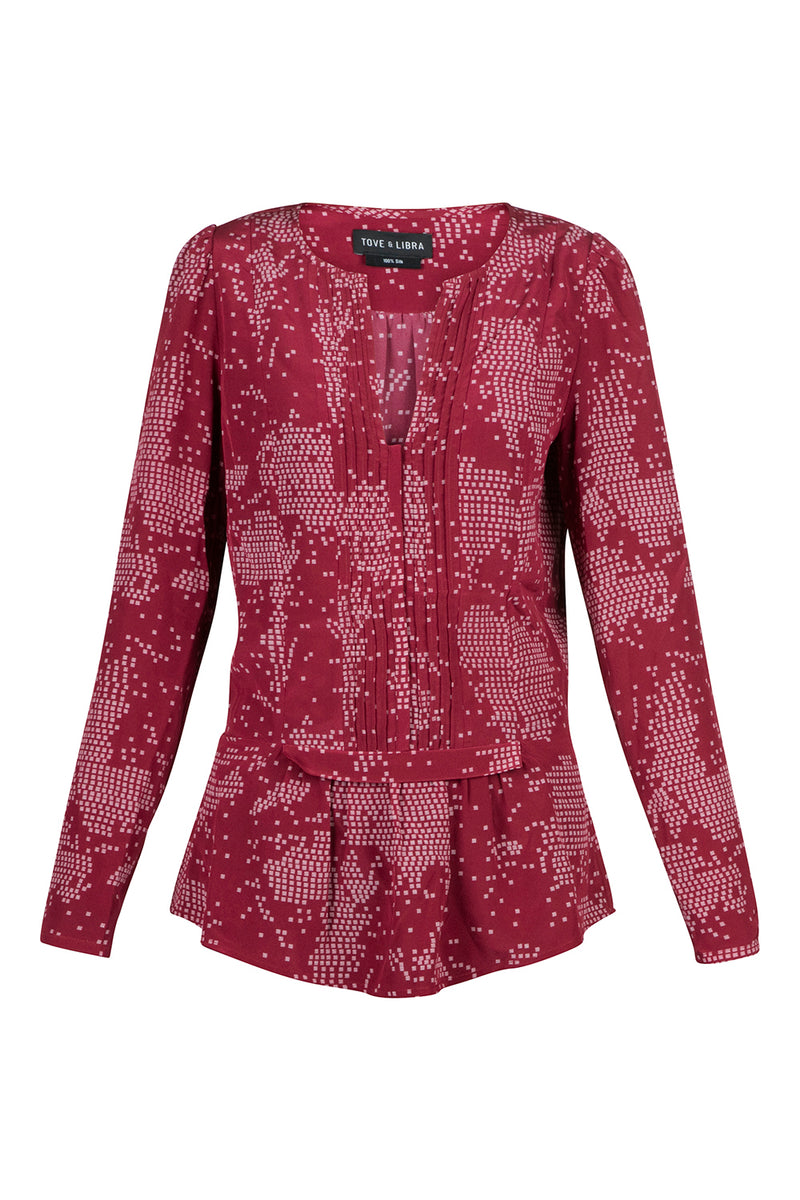 Pintuck Blouse - Cherry Print