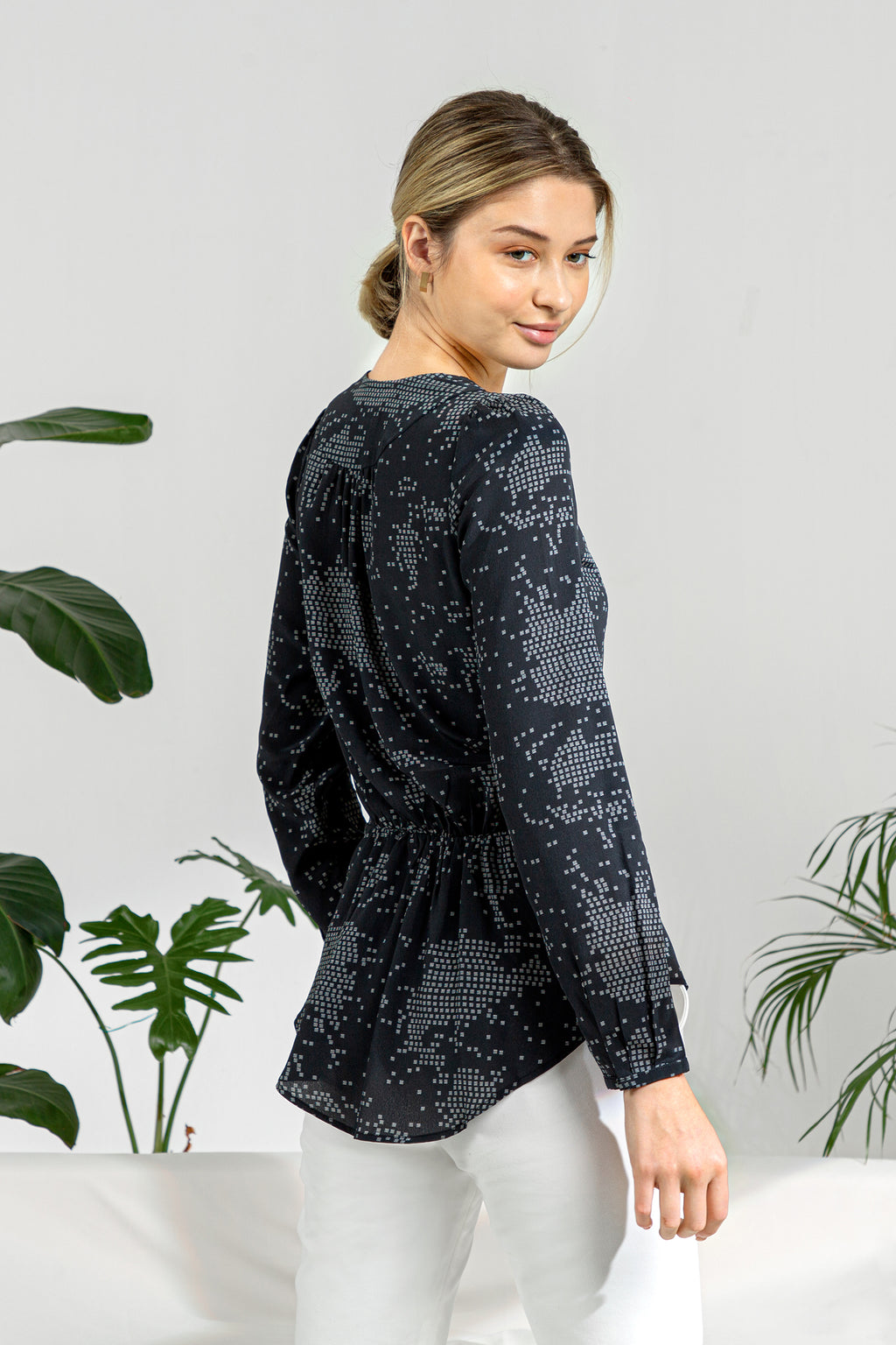 Pintuck Blouse - Black Print