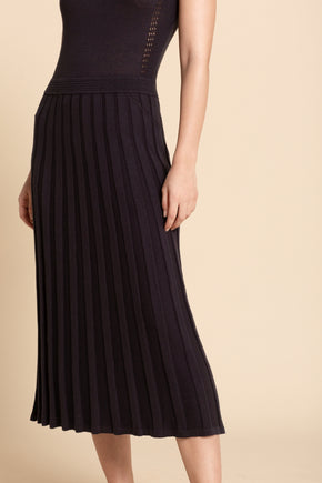 Pointelle Midi Dress - Midnight