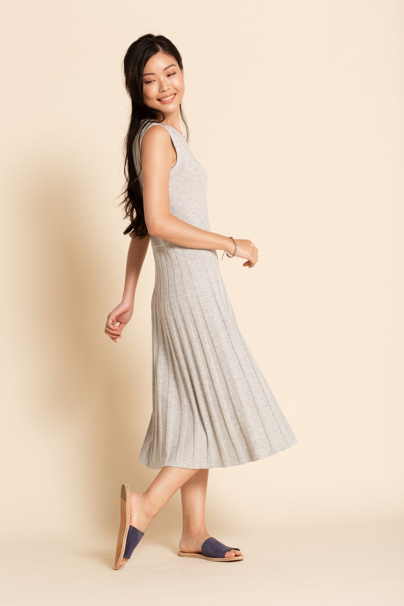 Pointelle Midi Dress - Grey Pearl