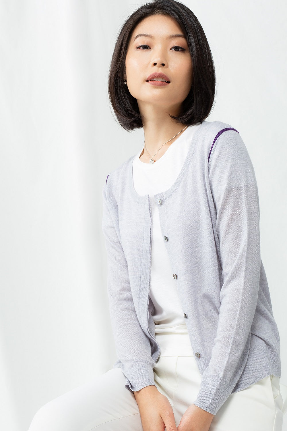 Pointelle Cardigan - Silver