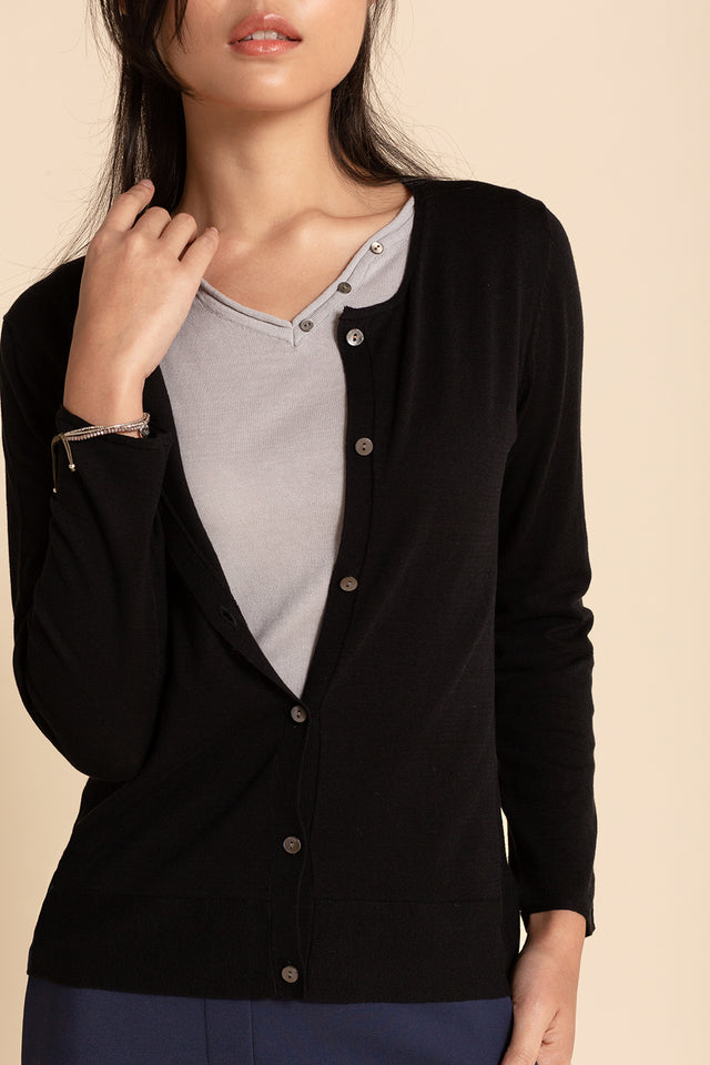 Ribbed Crew Cardigan - Black