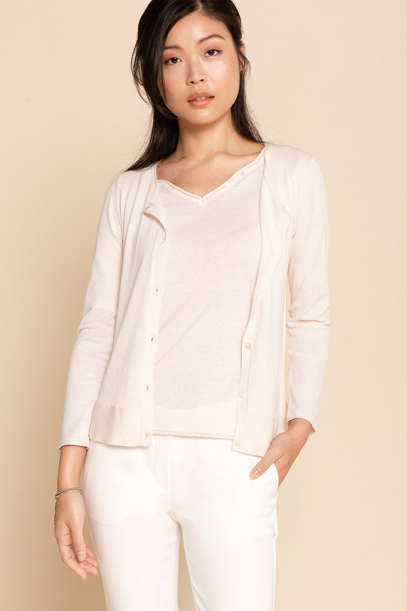 Ribbed Crew Cardigan - Shell