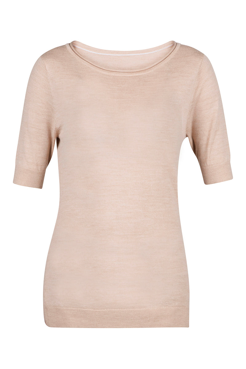 Roll-Edge Sweater Tee - Beige