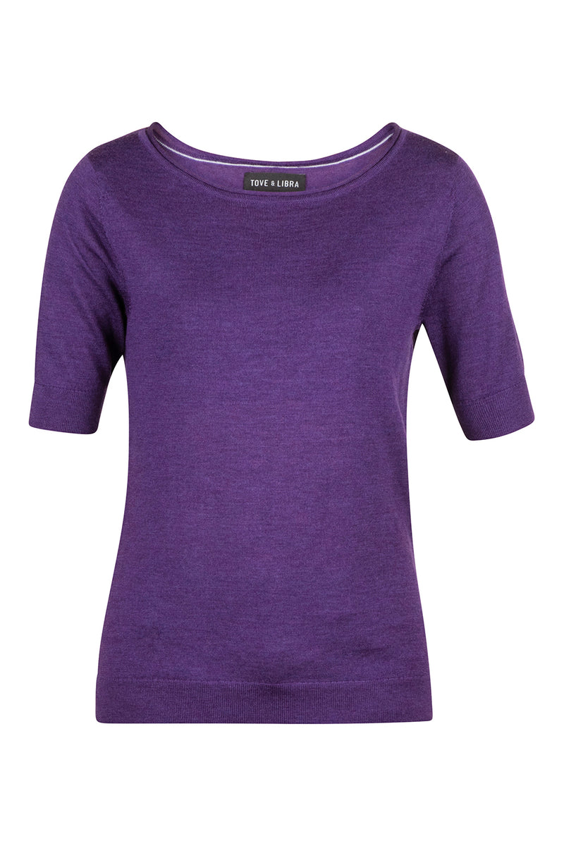 Roll-Edge Sweater Tee - Purple