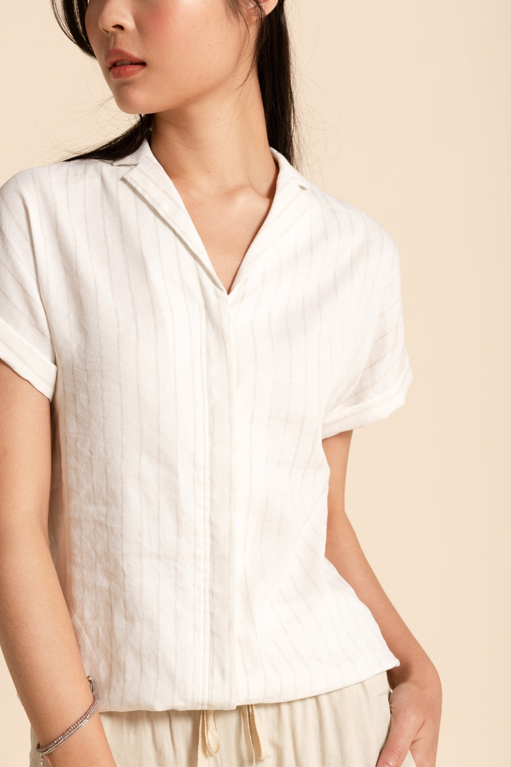 Blouson Shirt - White Striped