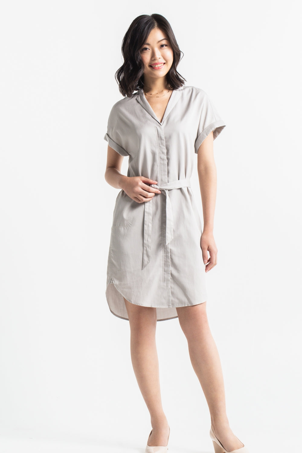Cap Sleeve Shirtdress - Zen Grey