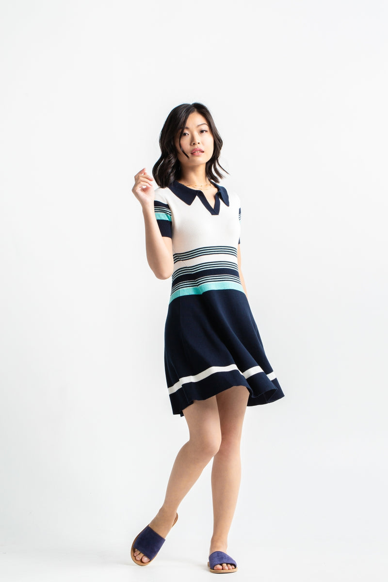 Striped Polo Dress - Navy