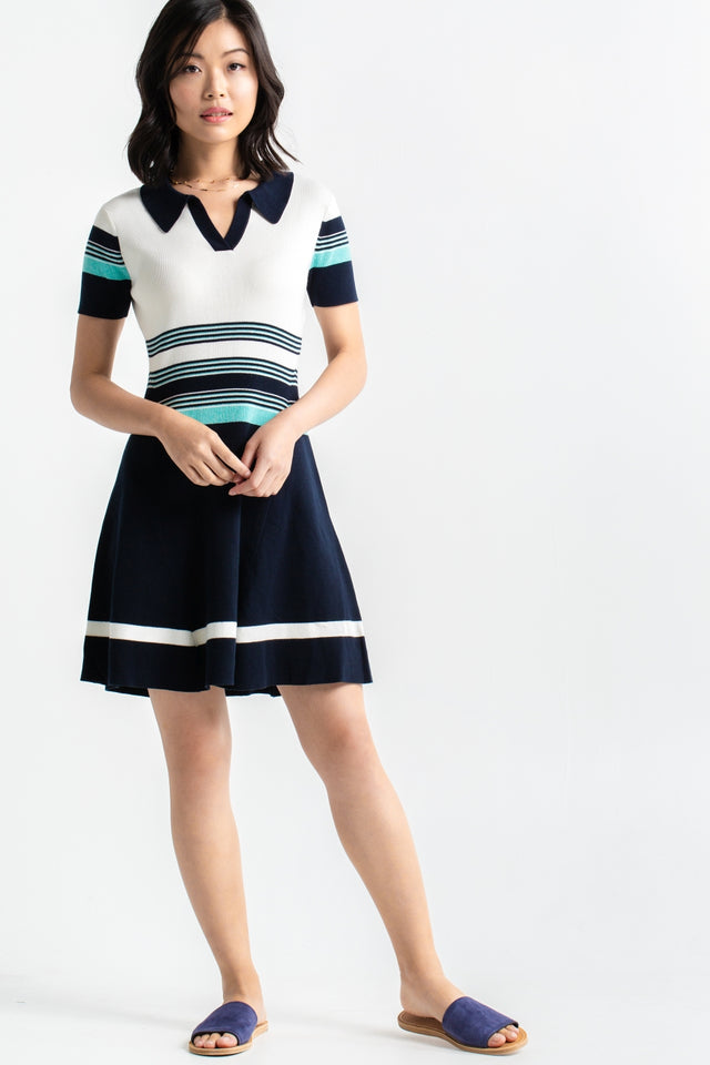 Striped Polo Dress - Navy & Mint