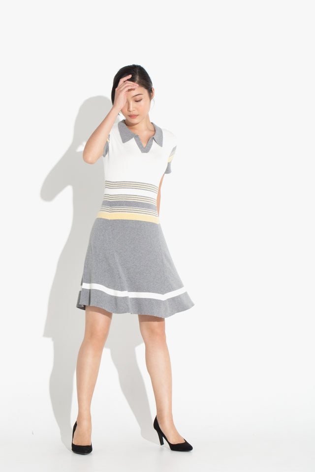 Striped Polo Dress - Yellow