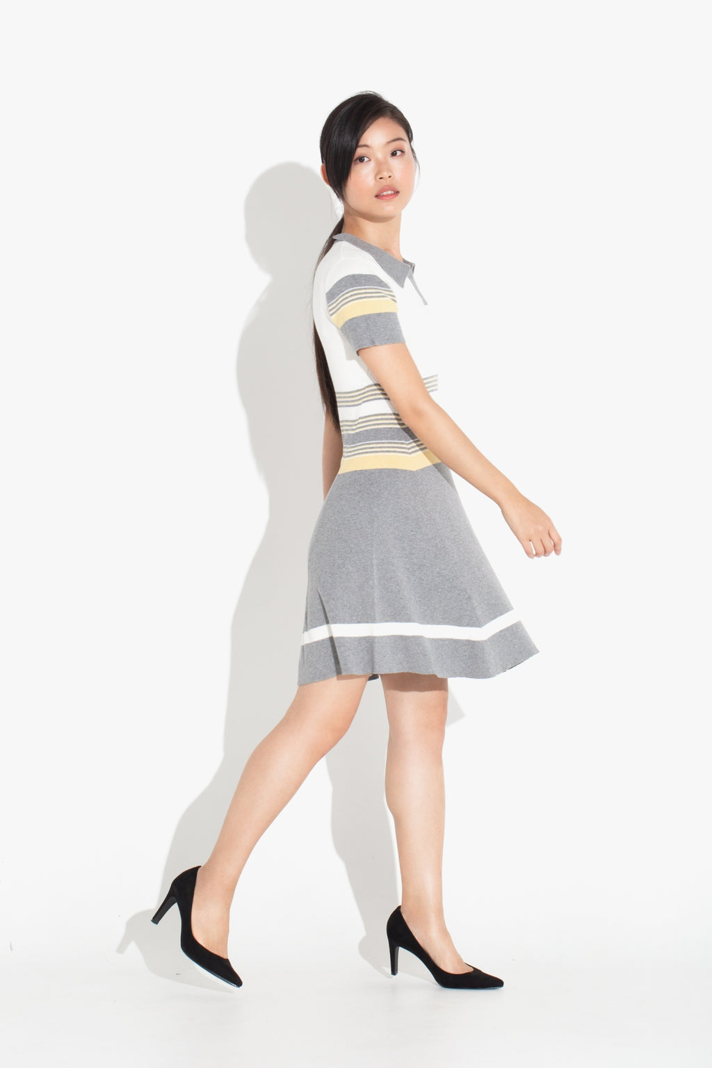 Striped Polo Dress - Silver & Yellow