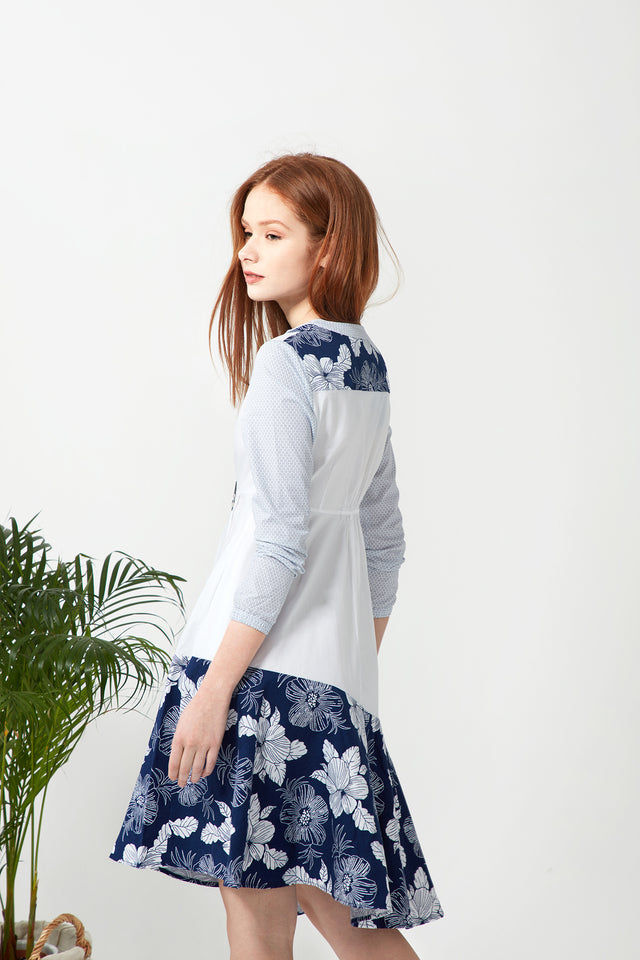 Swing Shirtdress - Navy Floral