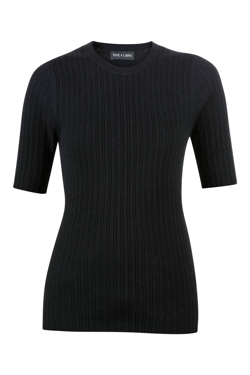 Essential Ribbed Tee - Black